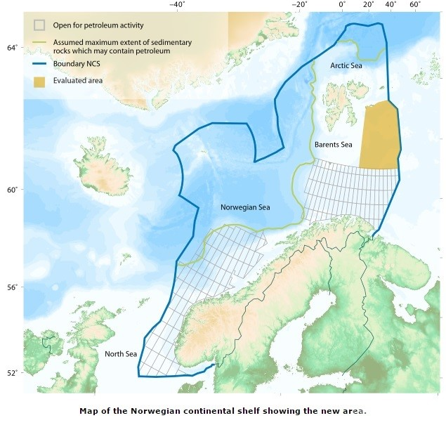 Kart over Oljedirektoratets foreslåtte leteområder