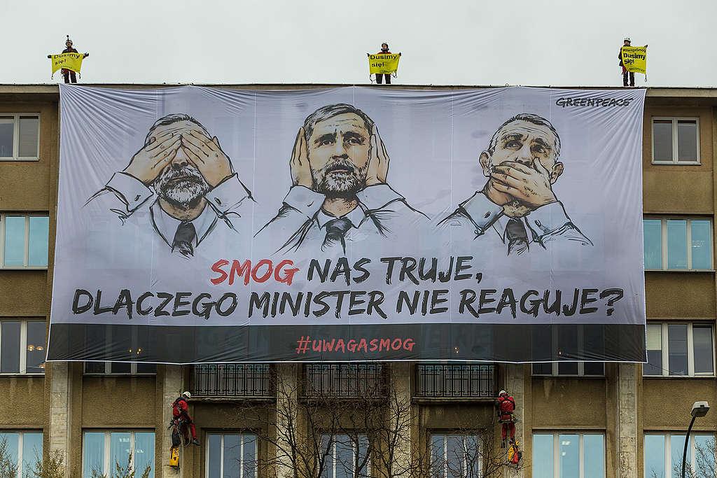 #UwagaSmog - protest na Ministerstwie Środowiska