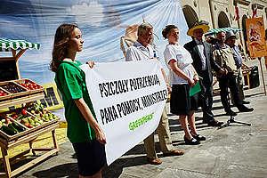 Protest Greenpeace i pszczelarzy pod Ministerstwem Rolnictwa
