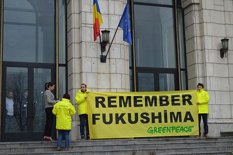 Fukushima Disaster Third Anniversary Protest in Romania. © Greenpeace