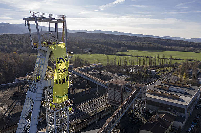 Action at Coal Mine in Nováky Slovakia. © Greenpeace