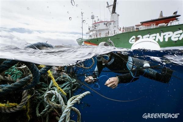 Zapuščene ribiške mreže (Justin Hofman / Greenpeac)