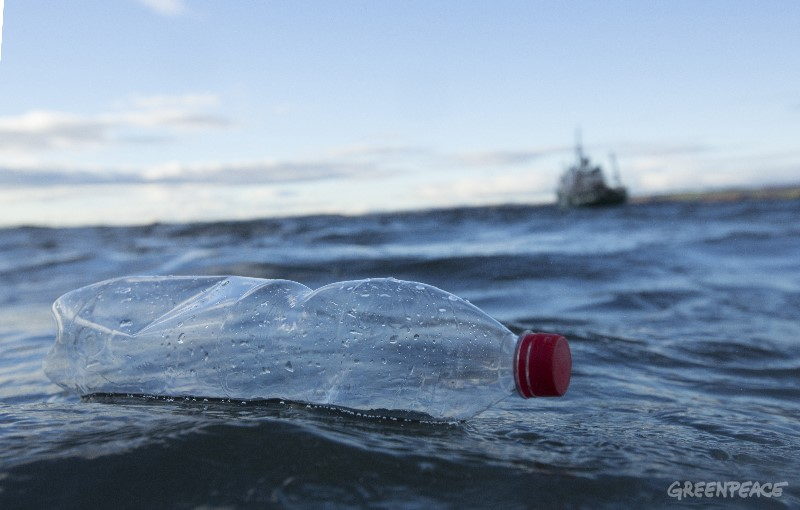 Plastenka v morju. (c) Greenpeace.