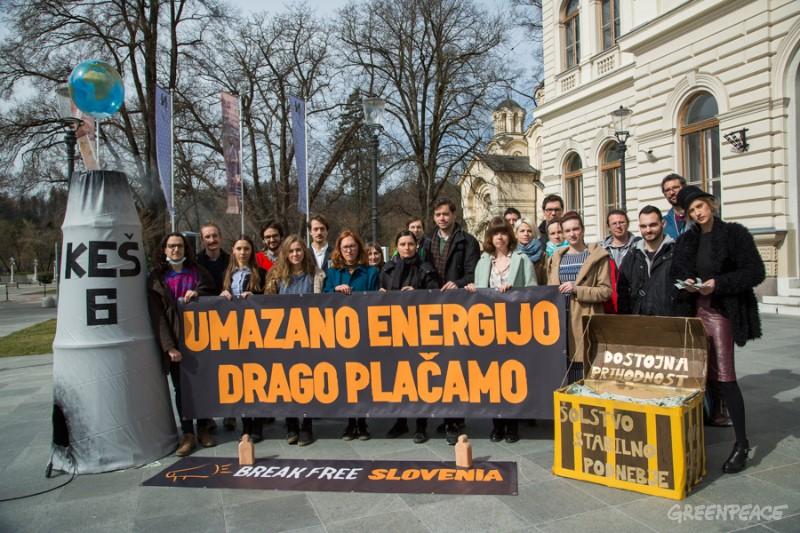 Gibanje Break Free, Ljubljana, 7. marec 2017. (c) T. Ristič / Greenpeace.