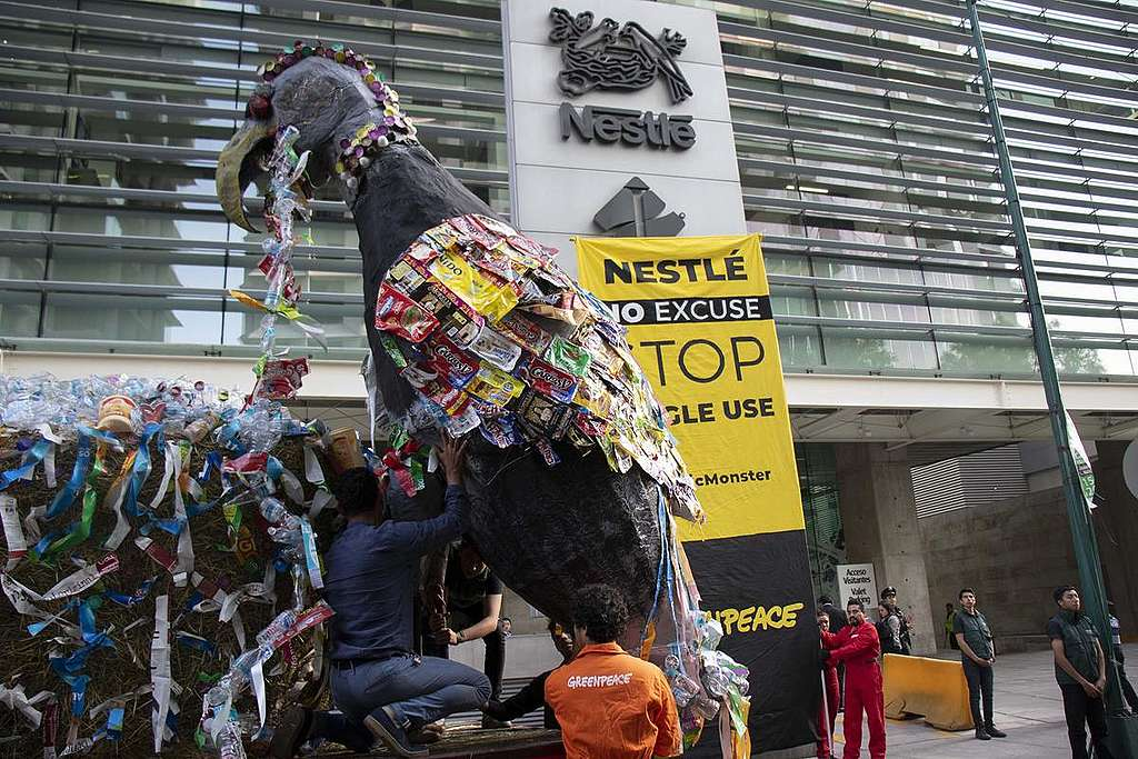 Plastic Monster Action at Nestle' Headquarters in Mexico. © Alejandro Pai / Greenpeace