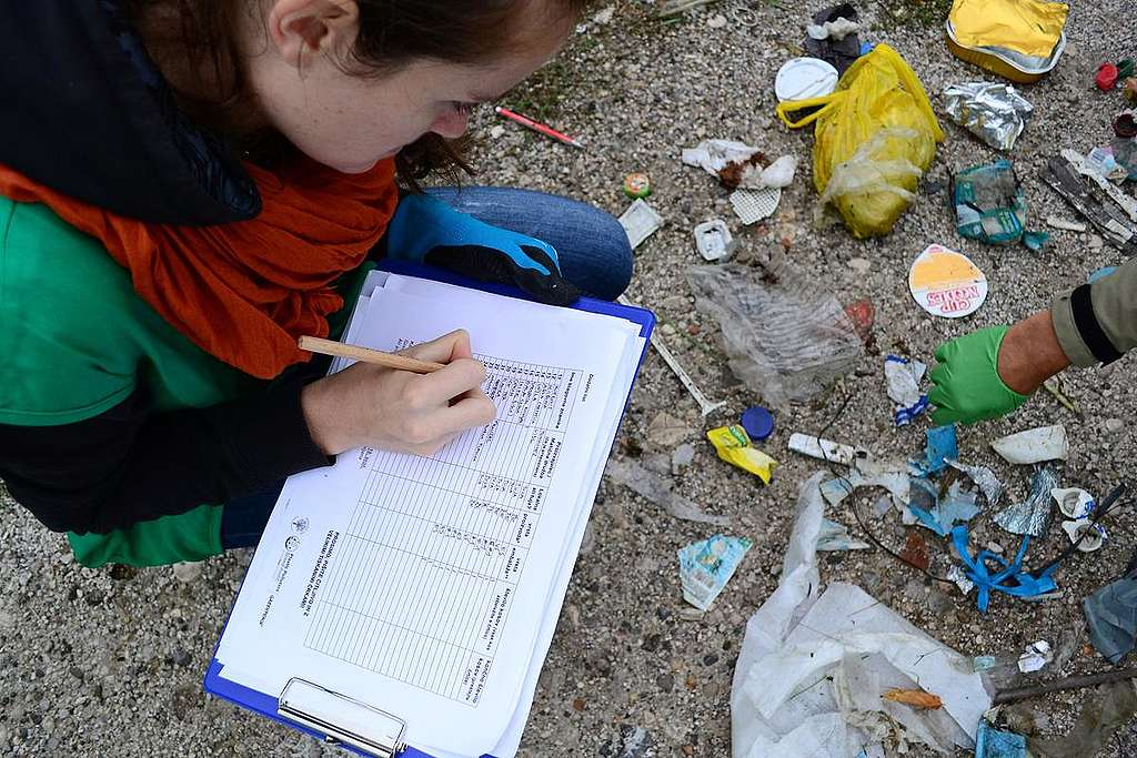 Plastic Clean Up and Brand Audit Activity in Slovenia. © Greenpeace