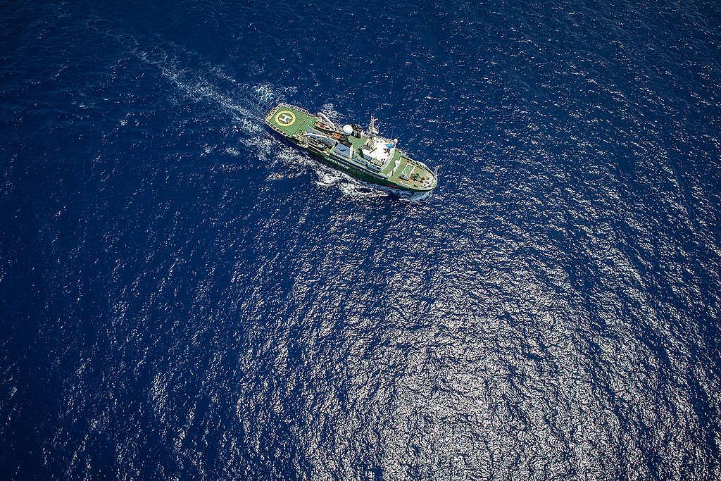 Greenpeaceova ladja Esperanza v Indijskem oceanu