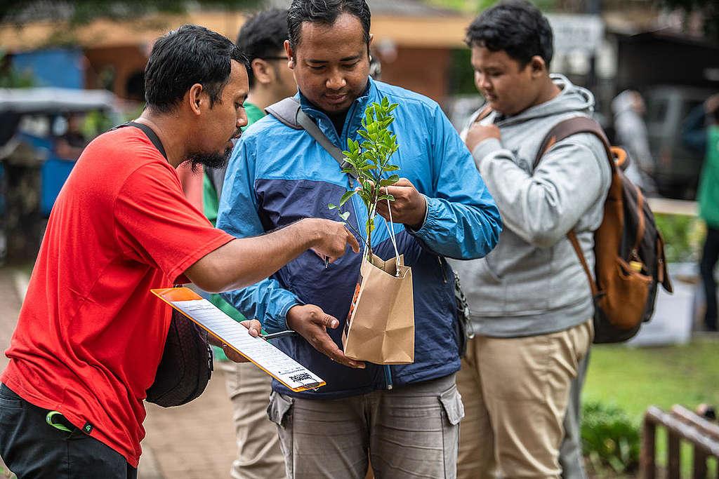 Praznovanje mednarodnega dneva gozdov v Džakarti © Jurnasyanto Sukarno / Greenpeace