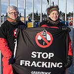 Anti Fracking Protests at Dybvad in Denmark. © Christian Åslund / Greenpeace
