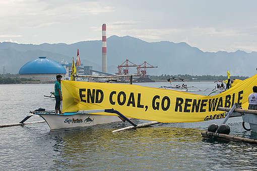 Rainbow Warrior Rejecting Coal Power Plant in Northern Bali. © Made Nagi / Greenpeace