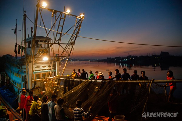 Thai fishing vessel and crew