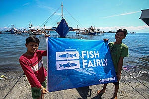 """Fish Fairly' Global Week of Action in The Philippines. © Karlos Manlupig / Greenpeace"