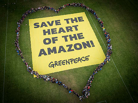 Save the Heart of the Amazon! Banner. © Greenpeace