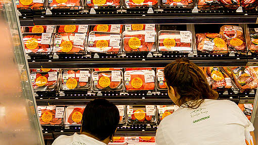 """Meat alla Timber"" Action in Brazil. © Zé Gabriel / Greenpeace"