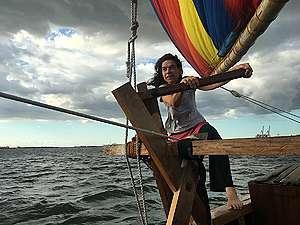 Captain Hettie Geenen on the Rainbow Warrior in Manila. © Angel Pago / Greenpeace