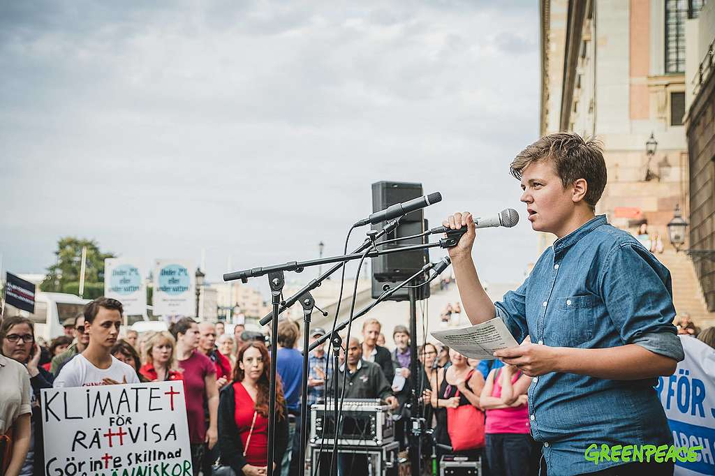 Em Petersson's speach at People's Climate March 2018 in Stockholm.