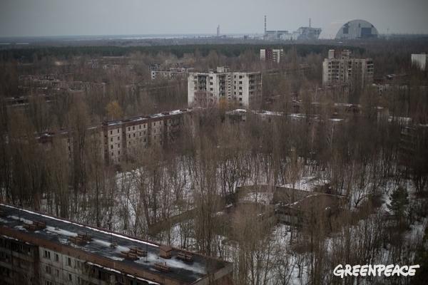 The abandoned city of Pripyat in Ukraine.  © Denis Sinyakov / Greenpeace