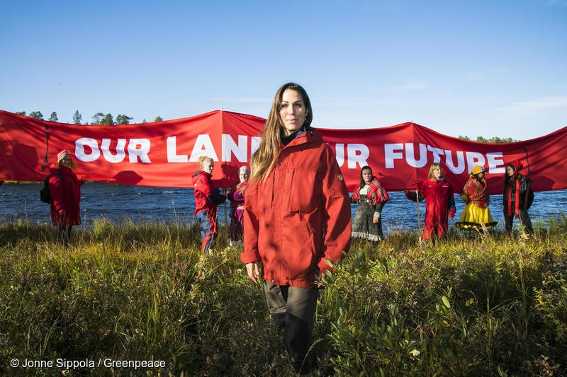5.9.2018 in Lapland, Inari Greenpeace and Sami people are doing the Red Line demostration next to the rapid Jäniskoski. #redline #noaccesswithoutconsent #greatnorthnernforest