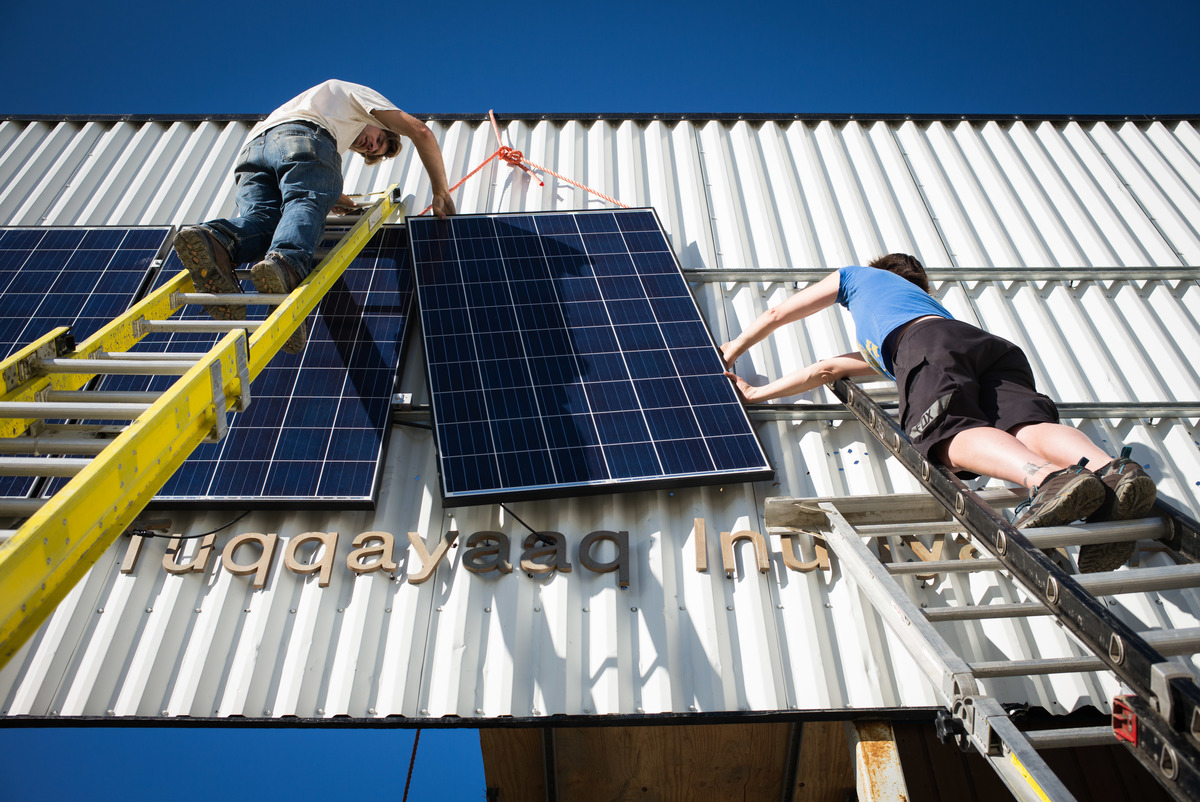 Solar Panels Installation in Clyde River. © Anonymous