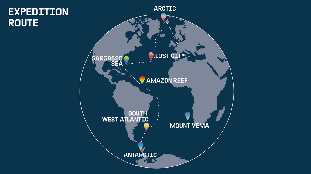 Expedition: Protect The Oceans. Ship tour route.