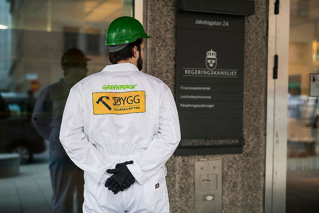 Build Back Better Activity at Swedish Department of Finance in Stockholm. © Christian Åslund / Greenpeace