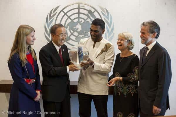 ArktisschützerInnen bei UNO-Chef Ban Ki-moon / Aufruf zu Klimademos vom Wochenende
