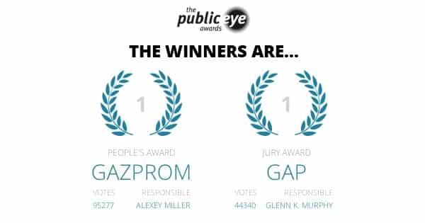 The Public Eye Awards 2014: Gap und Gazprom erhalten den Schmähpreis