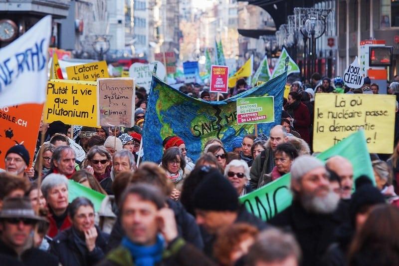 A Genève, ce sont près de 5'000 personnes qui ont pris part à la grande marche pour le climat. © Greenpeace/Van Asperen
