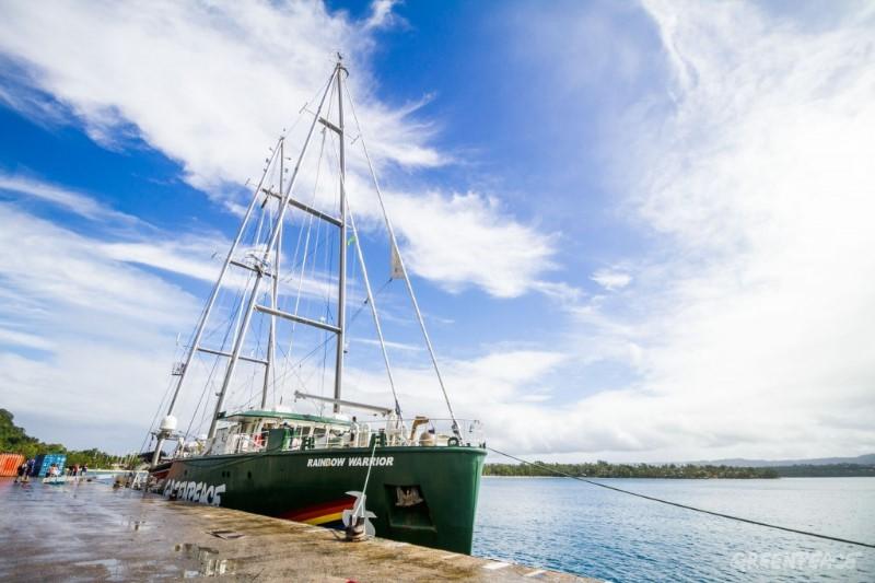 「彩虹勇士號」抵達萬那杜的維拉港