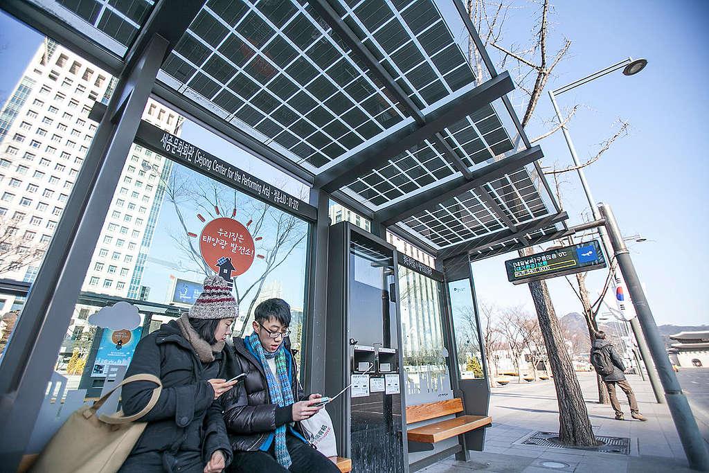 首爾市再生能源公車站 © Jean Chung / Greenpeace