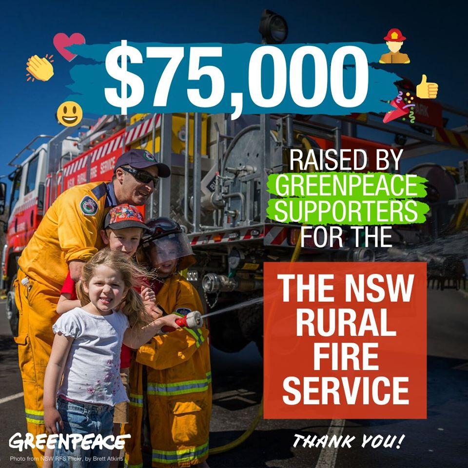 綠色和平澳洲辦公室支持者為新南威爾斯州鄉村消防局募得75,000澳幣,全數投入救災工作。