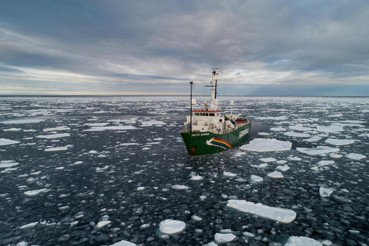 2020年9月15日,綠色和平船艦極地曙光號在北極,記錄與見證2020年海冰最低點。