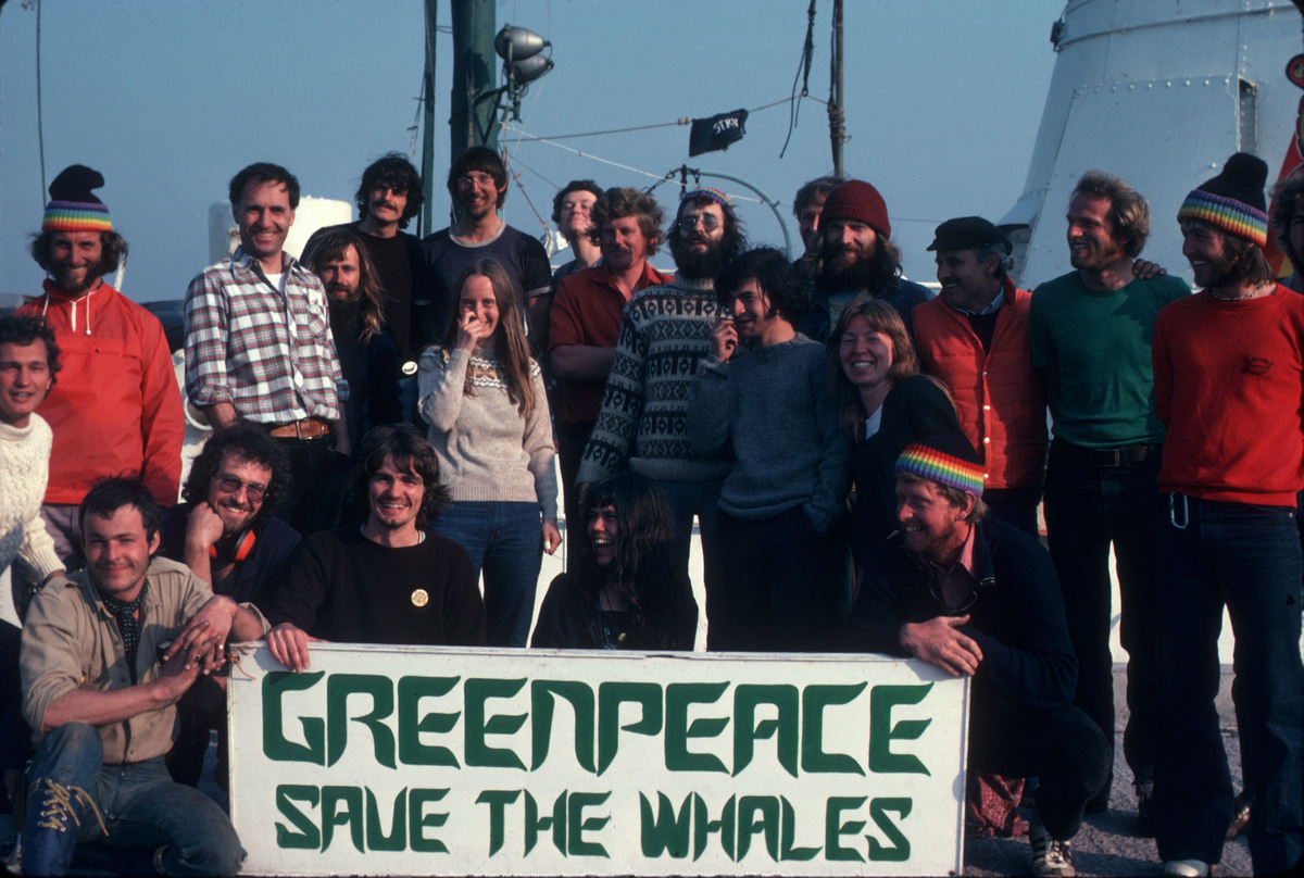 Rainbow Warrior Crew with Whaling Banner. © Greenpeace / Jean Paul Ferrero