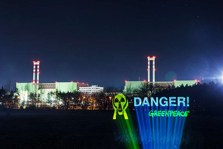 Projection on Trees in front of the Nuclear Power Plant in Hungary. © Bence Jardany / Greenpeace