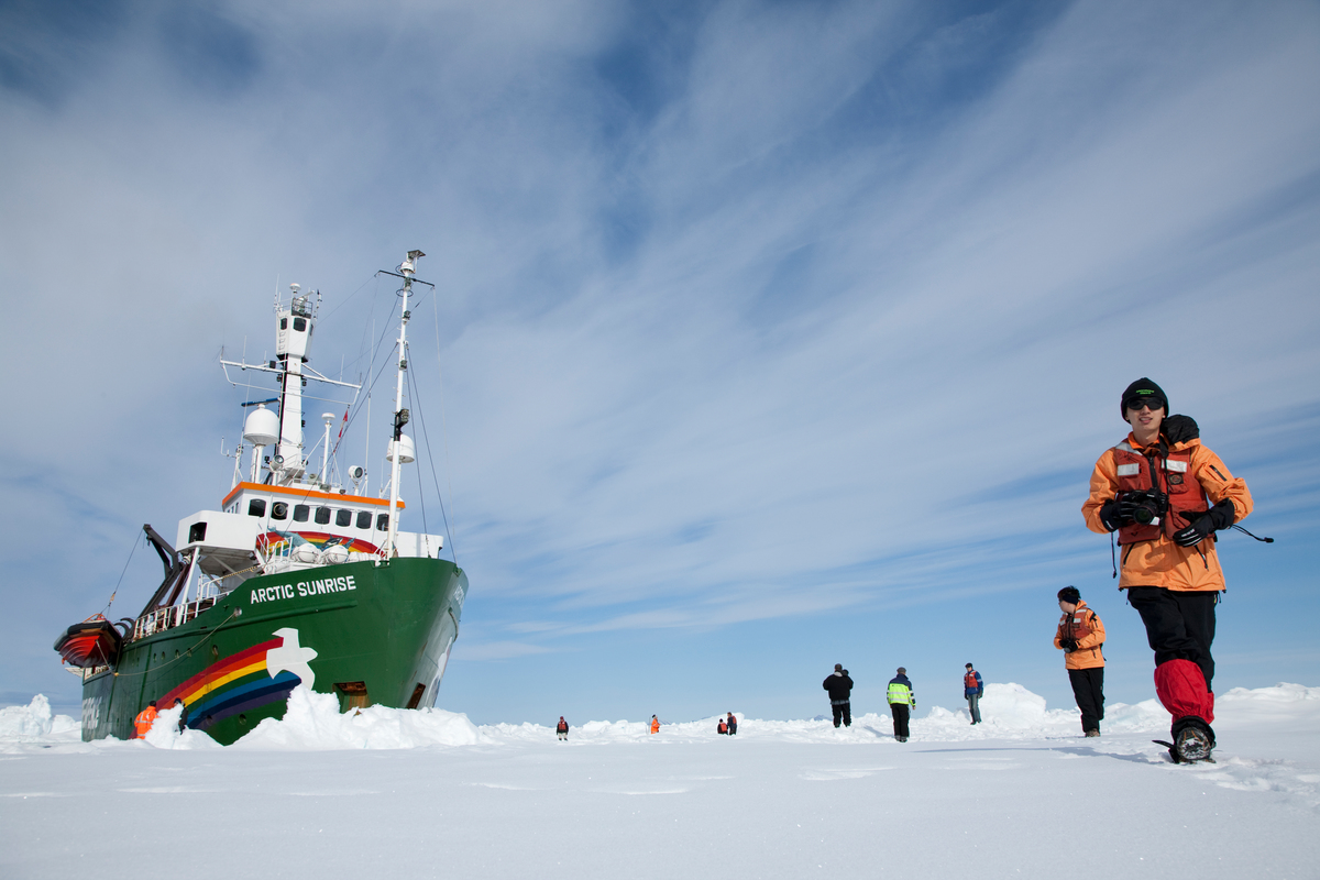 MY Arctic Sunrise at Robeson Channel. © Nick Cobbing / Greenpeace
