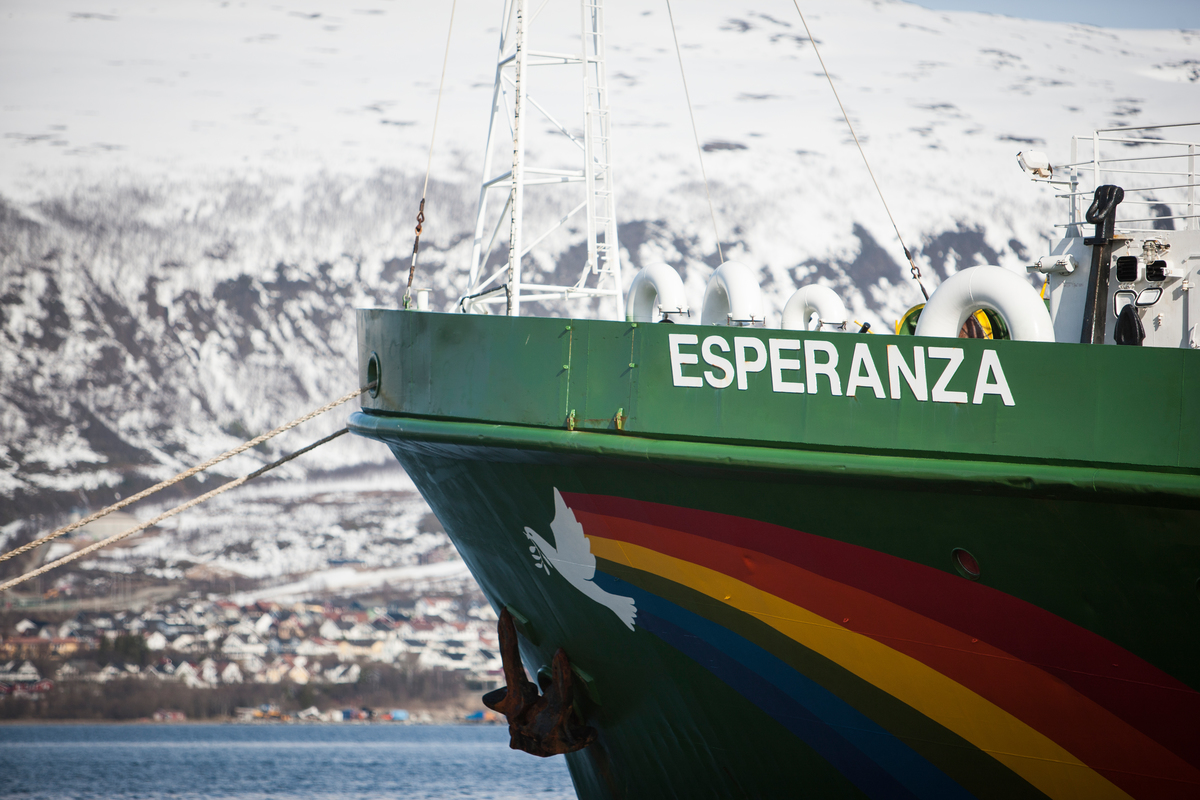 Esperanza in Port in Tromsø during Arctic Ship Tour. © Greenpeace
