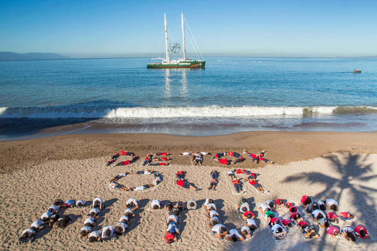 'Detox Our Future' Human Banner in Mexico. © Ivan Castaneira / Greenpeace
