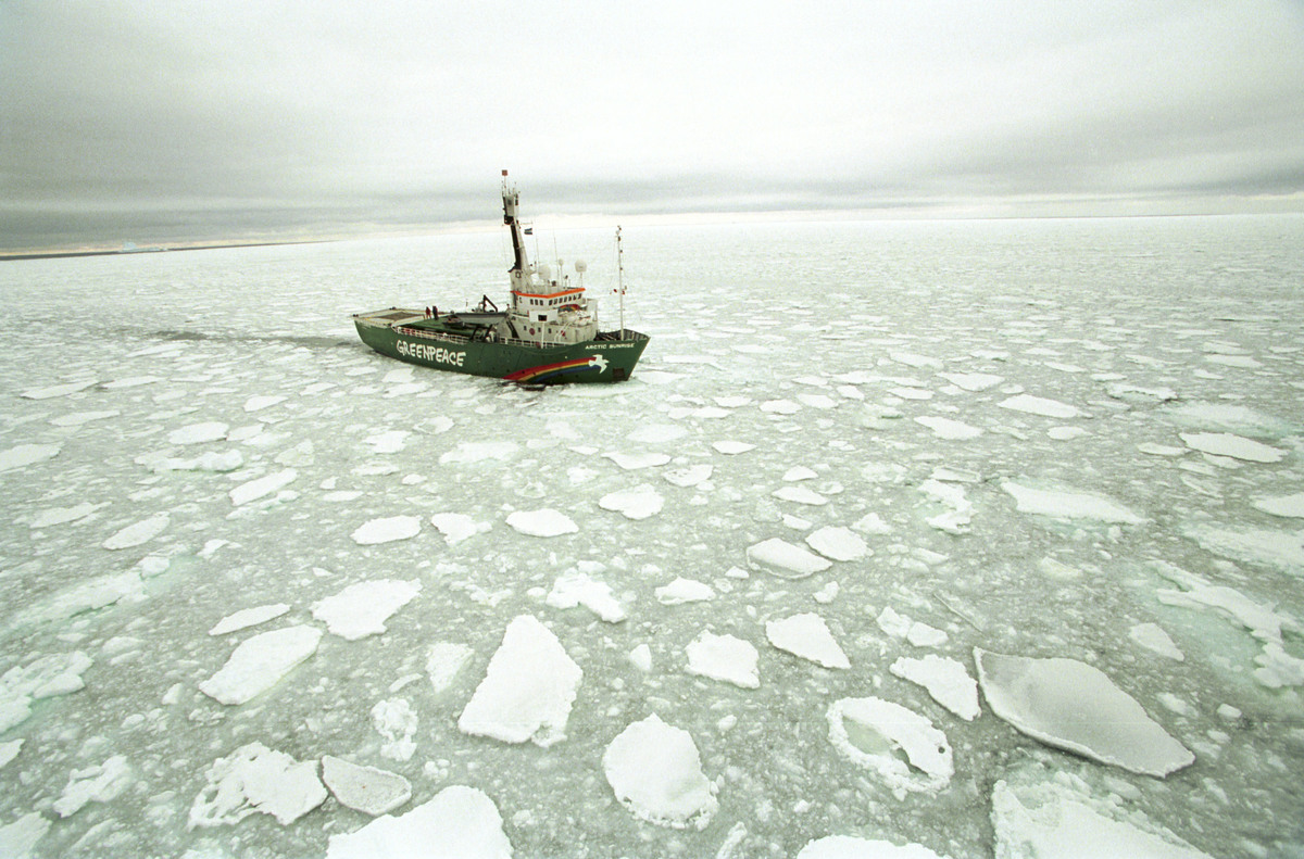 MV Arctic Sunrise in the Southern Ocean. © Greenpeace / Jeremy Sutton-Hibbert