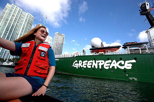 Actress Bonnie Wright Passes the Arctic Sunrise in Miami. © Sean  Gardner / Greenpeace
