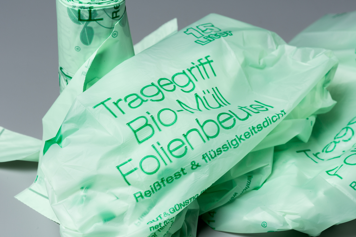 Product Shot of Compostable Bags. © Fred Dott / Greenpeace