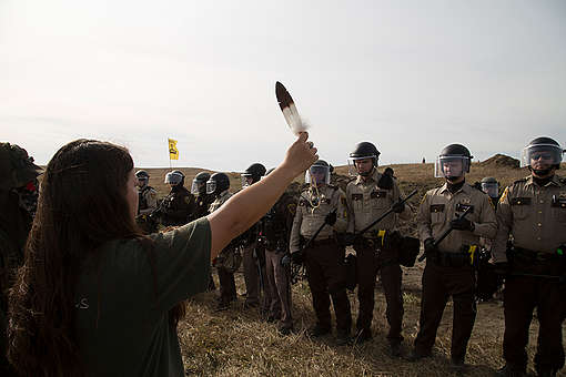 Protest at Standing Rock Dakota Access Pipeline in the US. © Richard Bluecloud Castaneda / Greenpeace