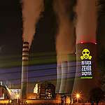 Projection onto Coal Power Plant in Turkey. © Caner Ozkan / Greenpeace