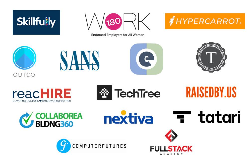 Community Partner logos – Skillfully, Work180, Touring School, Full Stack Academy, TechTree, HyperCarrot, Esteem, Raised by Us, Tatari, SANS, Computer Futures, Outco, ReachHire, Collaborea, SkyNet, Nextiva