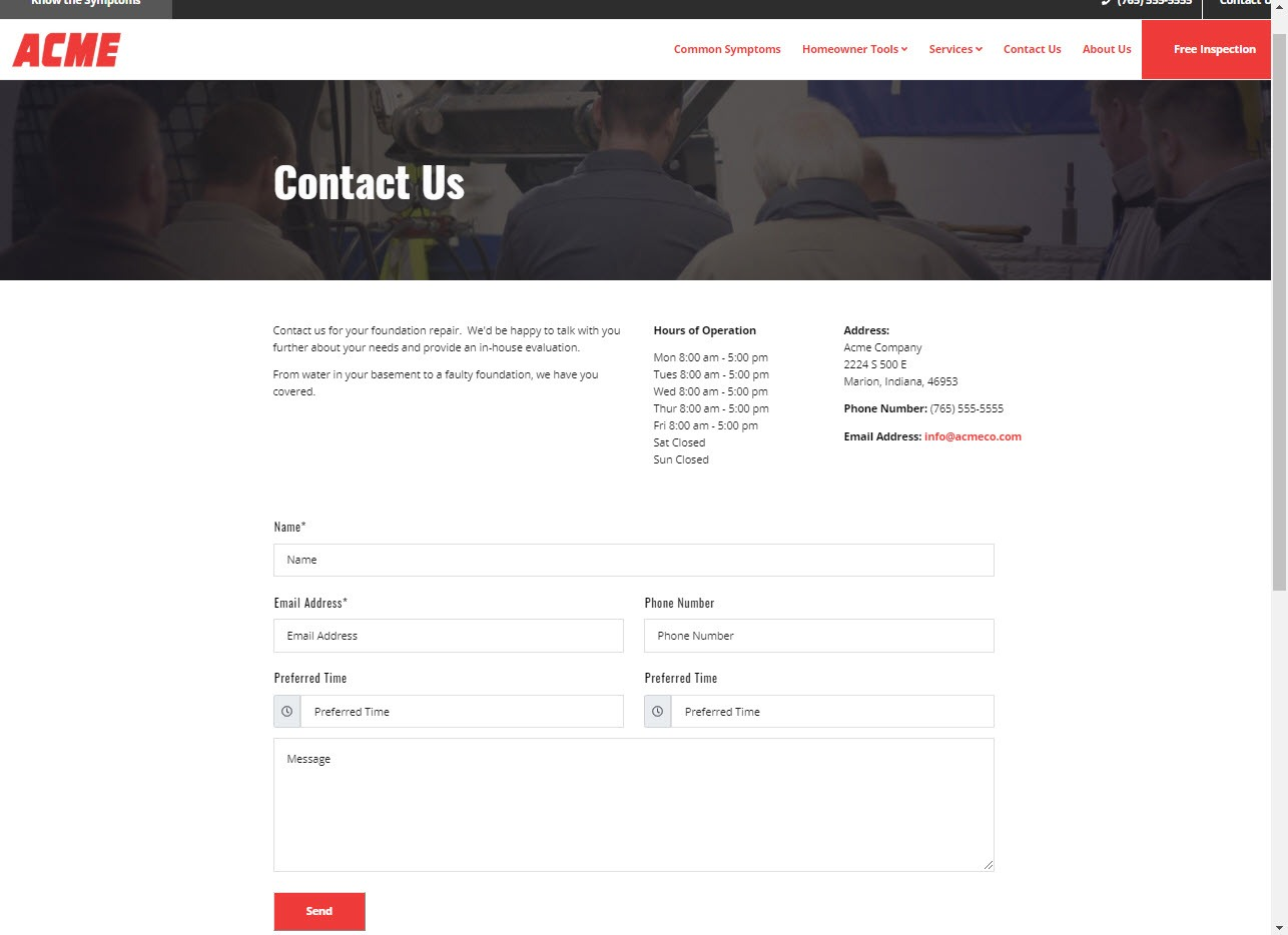 Contact page template for Grip-Tite dealer platform sites