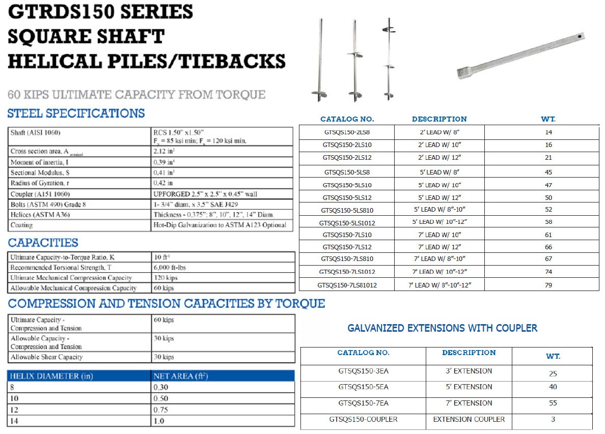 Square Shaft Helical tieback specs