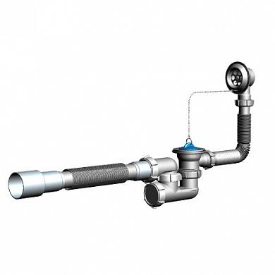 V255 Сифон для ванны регулируемый с выпуском и переливом с гт 40х40/50