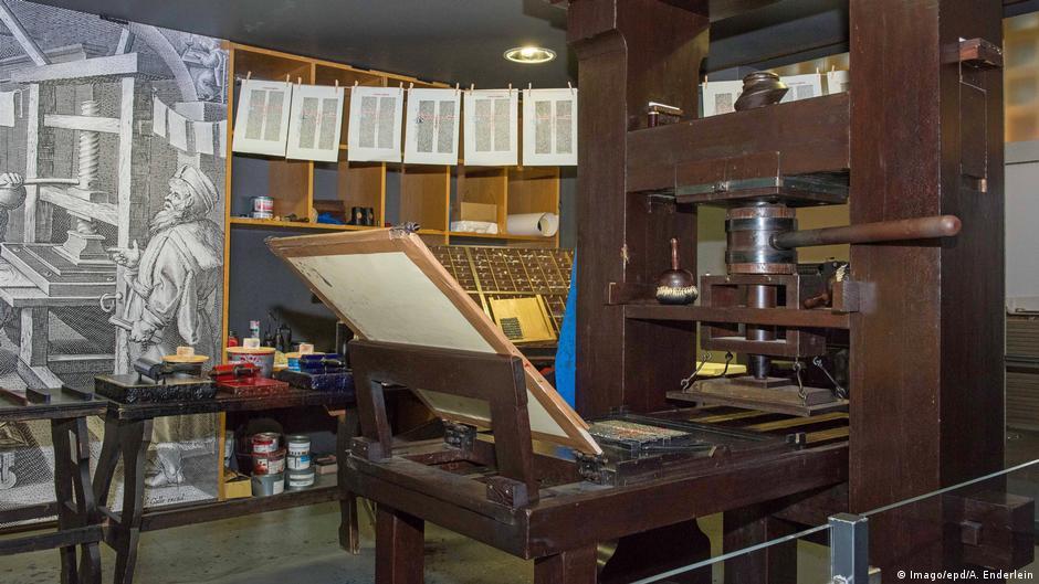 Reprodução da oficina em Mainz feita pelo Museu Gutenberg. Essa foi a invensão de mudou o mundo.