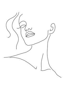 Ilustracija Minimal woman face line art