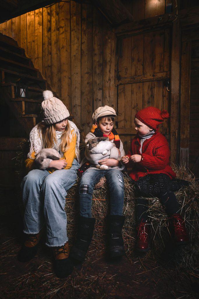 Aava Kertun Kotitilan lapset istuvat heinäpaalilla sylissään pupuja.