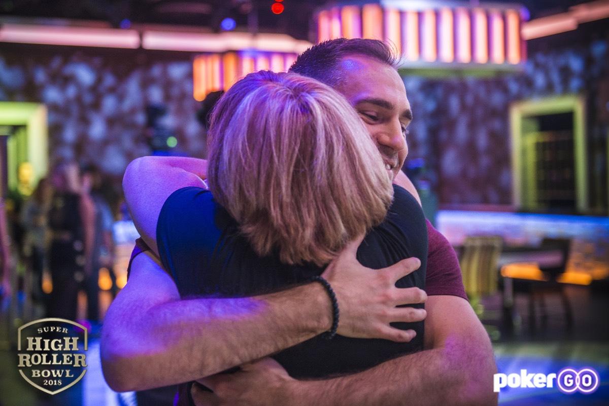Justin Bonomo hugging his mother after winning the 2018 Super High Roller Bowl!